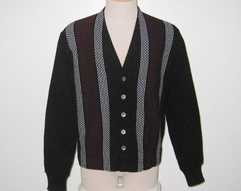 Vintage 1960s Black Striped Sweater/60s Black Striped Cardigan Sweater By Campus - Size M