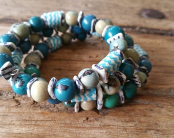 African style beaded wrap bracelet