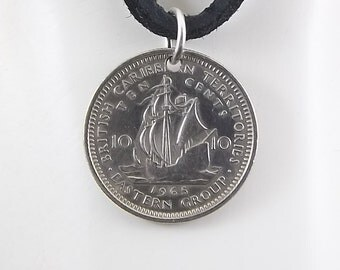 Caribbean Coin Necklace, 10 Cents, Coin Pendant, Leather Cord, Mens Necklace, Womens Necklace, Birth Year, 1965