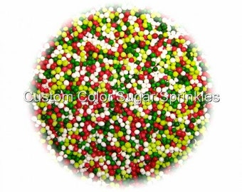 CHRISTMAS NONPAREILS Edible Sprinkles Red ,Green, Lime ,White,Cakepops Cupcake CandyConfetti Decorations 2oz.