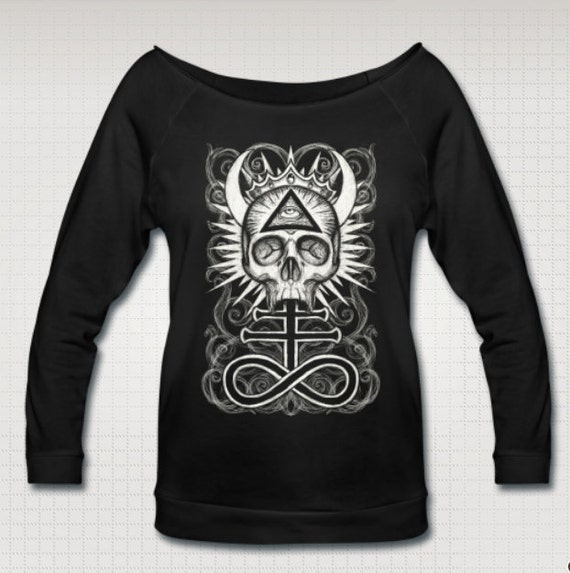 Illuminati Skull with Luciferic Cross Wideneck 3/4 Sleeve Shirt