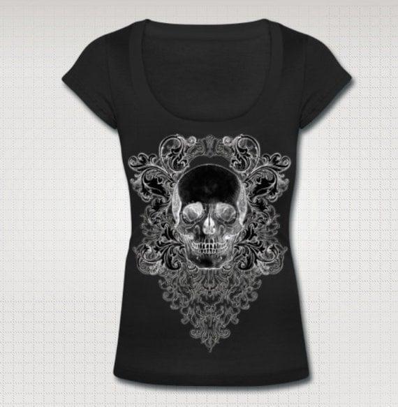 Baroque Skull Scoop Neck