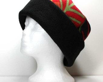 Large Colorful Leaves and Black Brim Fleece Hat Kids Fleece Hats Womans Fleece Hats Womens Fleece Hats Girls Fleece Hat