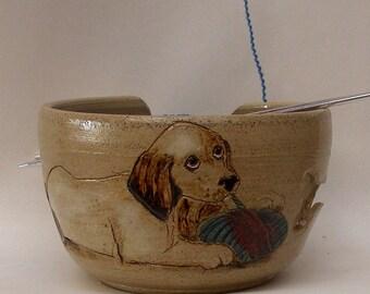 Dog Puppy Ceramic Yarn Yarn Bowl