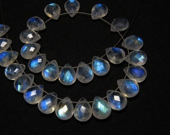 7x9 mm - 5 Matching Pair - AAAA - High Quality Rainbow Moonstone Faceted Pear Briolett Each Pcs Nice Flashy Fire - Drilled