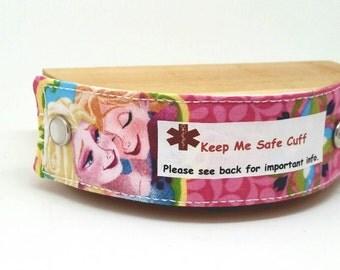 Elsa and Anna Medical Alert Bracelet Safety ID Fabric Band for Kids