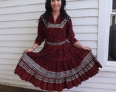50s Patio Set Southwestern Western Red Corduroy Thunderbird Vintage Skirt Blouse M L