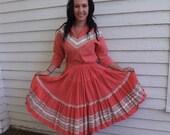 50s Patio Set Southwestern Western Thunderbird Vintage Skirt Blouse Salmon M L