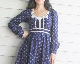 Blue Gunne Sax Dress 70s Vintage Floral Prairie XS 5 Country Hippie Boho