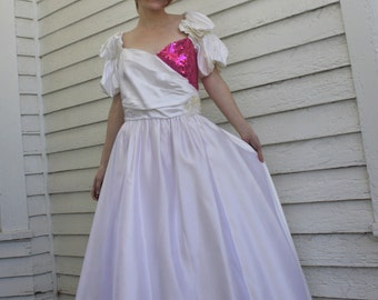 80s Prom Dress Formal Party Pink Sequins 1980s Vintage Alfred Angelo 13