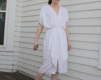 White Disco Dress 80s Party Vintage 1980s XS 5