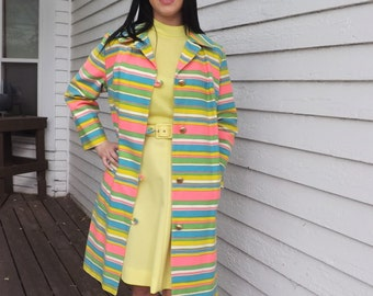 60s Striped Jacket Coat Mod Candy Rainbow Retro Lightweight S