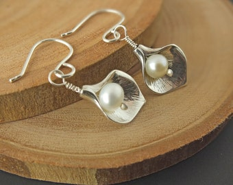 Pearl Petal Earrings, Sterling Silver Petal Earrings, Handcrafted Bridal Jewelry