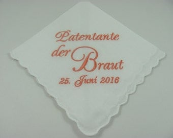 Personalized - Patentante der Braut - Embroidered - Wedding Handkerchief - Wedding Gift - Keepsake - Lace Hanky - Simply Sweet Hankies