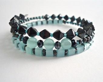 Blue Wrap Bracelet - Blue Boho Bracelet - Hematite Bracelet - Memory Wire Bracelet - Aqua Boho Wrap - Aqua Blue Bracelet  Wrap Bracelet Boho