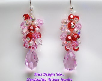 Crystal Passions Pink and Red Teardrop Earrings,Pink & Red Crystal Cluster Earrings