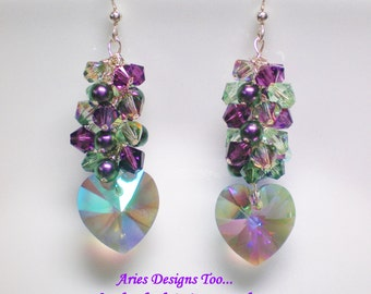 Swarovski Crystal Cluster Earrings,Crystal Paradise Cluster Heart Earrings,Purple/Green Crystal Heart Cluster Earrings,