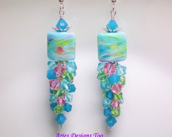 Caribbean Waters Lampwork Earrings,Aqua, Pink and Green Swirled Earrings,Long Dangle Earrings in Pink,Aqua and Green