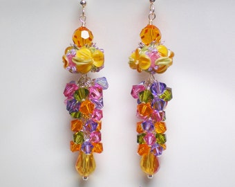 Tangerine Dreams, Orange, Pink, Violet and Green Floral Lampwork Earrings,Long Orange Floral Lampwork Earrings