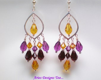 Swarovski Crystal Chandelier Earrings,Fall Colored Purple,Topaz & Garnet Colored Teardrop Chandelier Earrings,