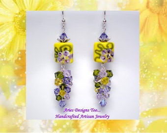Violet Sunshine..Floral Lampwork Earrings in Yellow and Violet