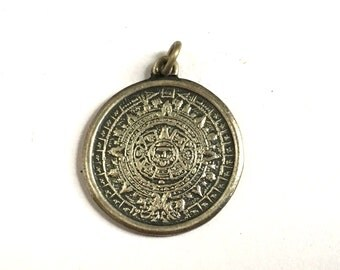 Vintage Sterling Mayan Calendar Pendant Charm