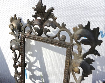 Old Ornate Cast Iron Picture Frame