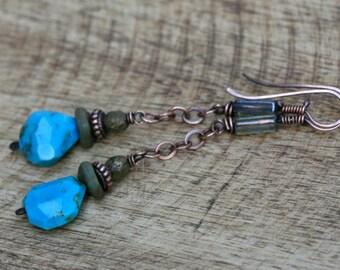 Rustic Turquoise stone pendulum dangle metal earrings -  elongate dangling everyday wear , earthy , earth , simplistic dangle , blue sky