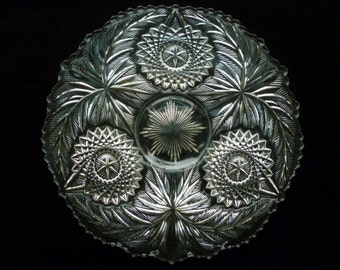 "Rare Westmoreland Fern Burst/Palm Wreath 11"" EAPG Glass Chop Plate Superb!"