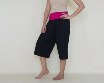 Knee Length black with Pink colour at waist fisherman wrap pants