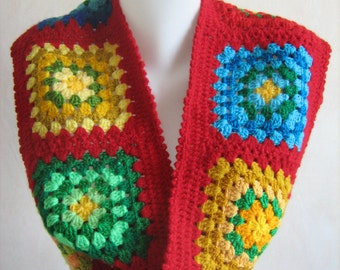 Granny square scarf, crochet, warm, long, red shawl, colorful, lady gift, handmade, patchwork, unique design, winter, gorgeous,hippie style
