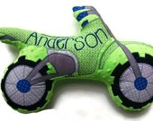 Dirt Bike Pillow, Motorcycle Pillow, Personalized, Custom Plush Pillow, Toddler Plush Toy, Baby Shower Gift, Custom MADE TO ORDER
