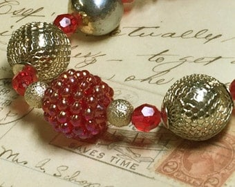 Chunky Choker Beaded Necklace - Red Raspberry and Brass Mesh Beads - Vintage Recycled Beads - Kids Photo Prop - Holiday Choker -R82