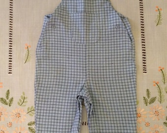 Vintage NEW Mothercare Boy's Baby Blue Checked Overalls