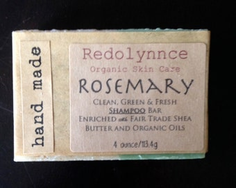 Rosemary--Organic Vegan Shampoo Bar made with Essential Oils. GMO free.