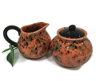 Creamer and Sugar Bowl - Amber and Green - Ceramic