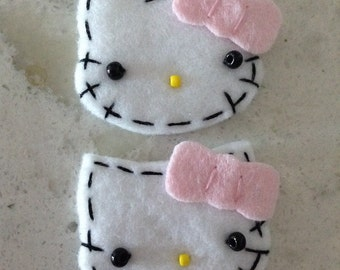 2 Felt Hello Kitty Appliques-Pink Bows