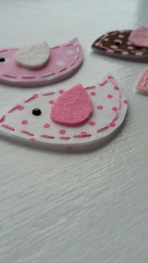 4 handmade fabric and felt felties bird appliques pink for Polka dot felt fabric