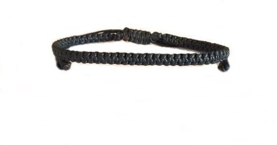 Handcrafted Classic Black Friendship Cotton FAIR TRADE Buddhist Wristband Bracelet Wristwear