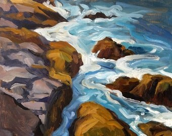 Rocky Surf, Monhegan Maine. Oil Painting Landscape on Panel, 12x16 Plein Air Impressionist Seascape, Signed Original Fine Art