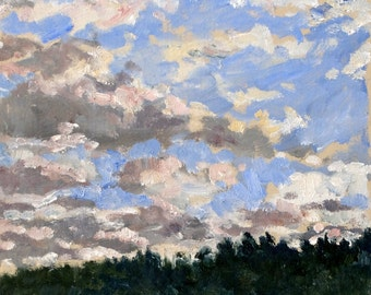 Clouds over the Pines, near Boston. Realist Oil Painting Landscape, 8x8 Plein Air Impressionist Oil on Panel, Signed Original Fine Art