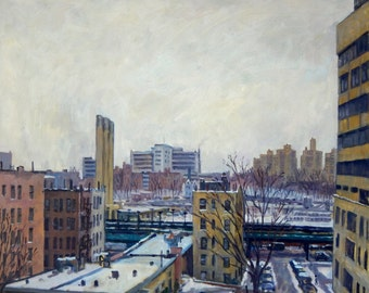 Winter Poem, NYC. Original Oil Painting, 20x24 Oil on Canvas, Realist New York City Fine Art, Signed Original Impressionist New York Oil