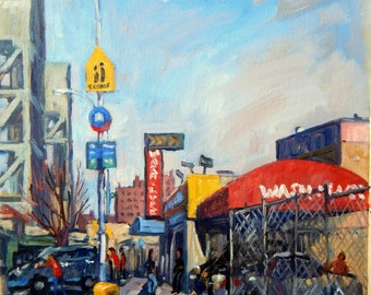 Broadway Bridge and Car Wash, Sunny. Realist New York City Oil Painting on Canvas, 12x12 NYC Fine Art, Signed Original Landscape