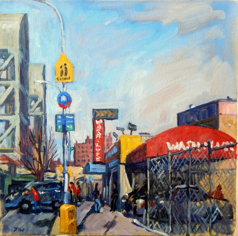 Broadway Bridge And Car Wash Sunny. Realist New York City Oil
