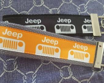 Jeep Key Fob / Jeep Wrangler KeyChain / Jeep Wristlet KeyFob / Jeep logo Ribbon Key Fob Wristlet / Jeep Grill Key Fob