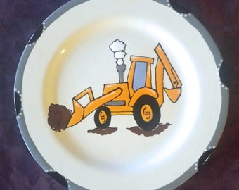 Excavator Plate - Child Birthday gift - New Baby Gift - newborn baby - child gift -  birth plate - christmas gift - Tractor