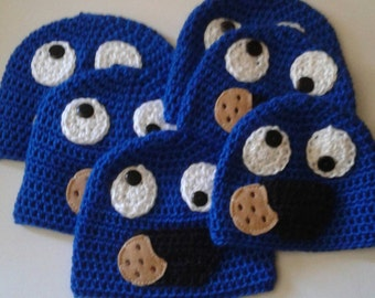 Ready to ship Inspired Sesame Street Blue cookiemonster  kids hat