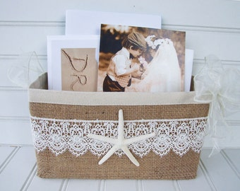 Beach burlap wedding basket with starfish for cards and photos