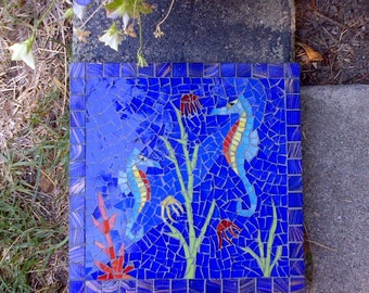 Seahorse Stained Glass Mosaic Tile Garden Stepping Stone