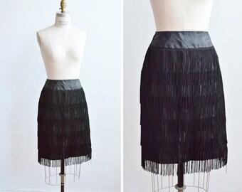 SALE / Vintage 1960s FRINGED black pencil skirt